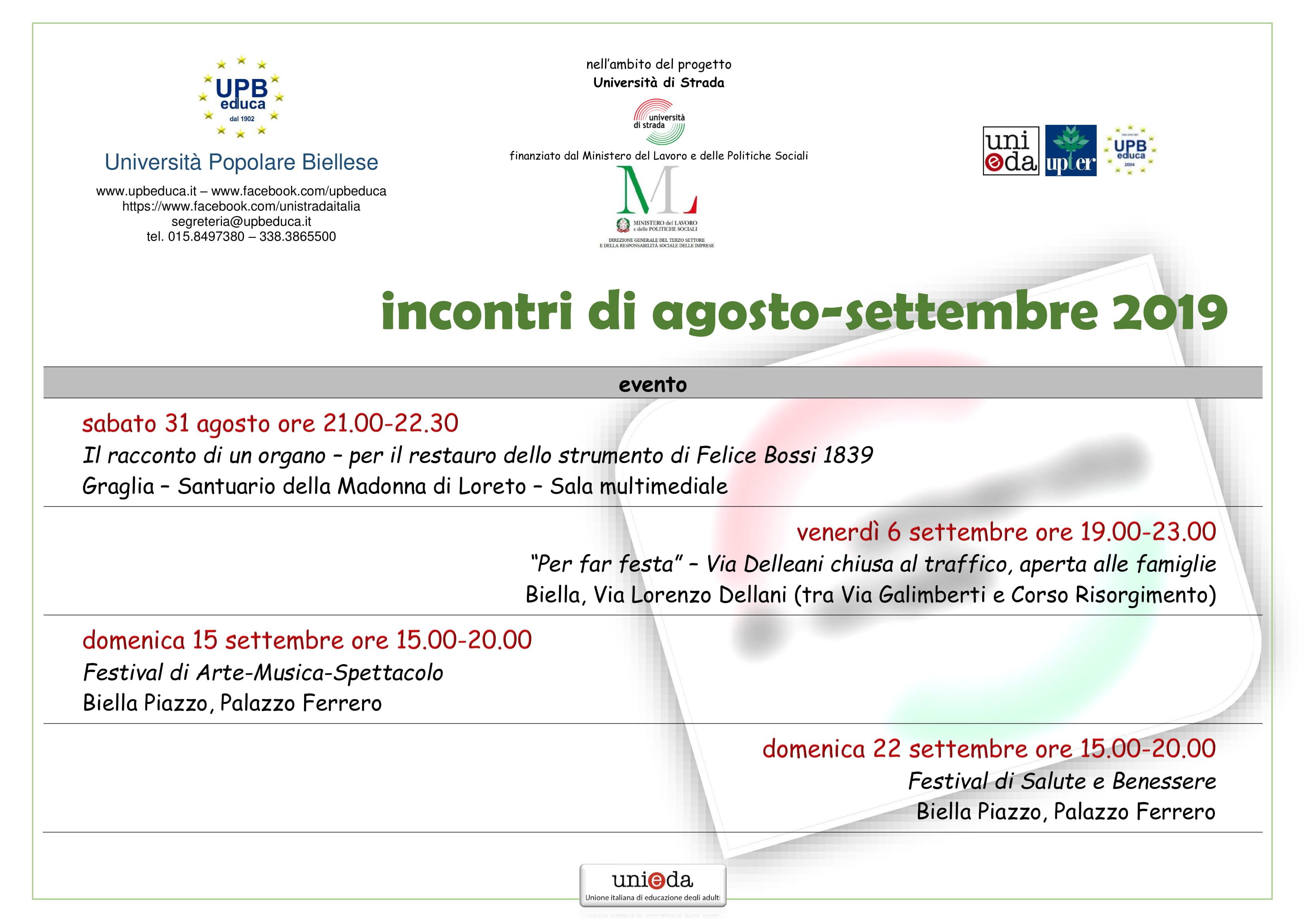 Calendario Scolastico Piemonte 201920 Excel.Upbeduca Universita Popolare Biellese Home Page